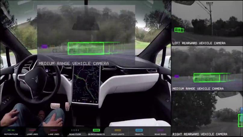 Tesla's autopilot detects objects